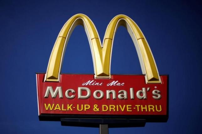 The logo of Dow Jones Industrial Average stock market index listed company McDonald's (MCD) is seen in Los Angeles