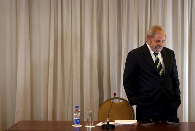 Former Brazilian President Lula da Silva arrives to a news conference with international media in Sao Paulo