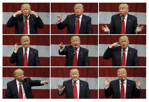 This combination photograph shows U.S. Republican presidential candidate Donald Trump as he speaks at a campaign event in an airplane hanger in Rome, New York