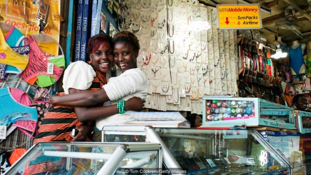 Shop assistants in downtown Kampala